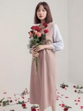 純色拼接直條紋袖壓褶洋裝