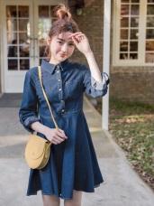 高含棉反褶袖排釦傘襬牛仔洋裝