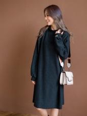 磨毛袖口刺繡高領長版上衣/洋裝