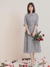 高含棉配色直條紋短袖罩衫/洋裝