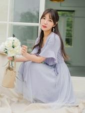 V領荷葉袖拼接網紗裙襬抽繩綁帶洋裝