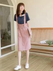 純色腰帶設計排釦口袋高棉吊帶洋裝