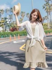 兩件式蕾絲雪紡罩衫x荷葉裙襬拼接細肩帶長洋裝