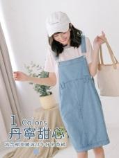 高含棉車縫設計牛仔吊帶裙