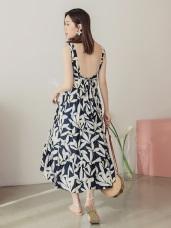高含棉滿版樹葉圖樣印花腰綁帶魚尾洋裝
