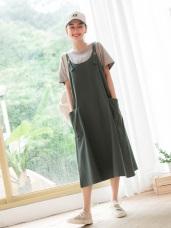 休閒風高含棉大口袋吊帶裙