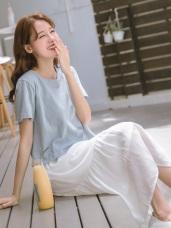 兩件式高棉純色圓領短袖上衣x背心荷葉裙襬洋裝
