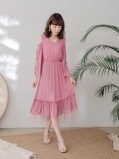 純色鏤空拼接下擺雪紡長洋裝