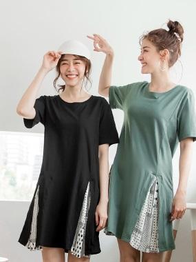 高含棉下襬開衩拼接百褶點點雪紡短袖洋裝