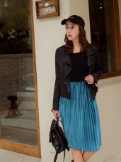 絨布質感百褶裙襬無袖背心洋裝