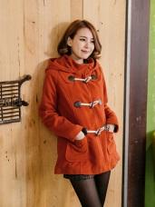 暖冬質感~經典毛料牛角釦連帽大衣外套.4色