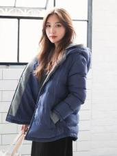 雙層連帽鋪棉修身禦寒外套