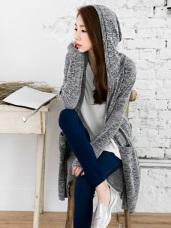 混色織紋開襟連帽長版罩衫/外套