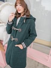 羅紋拼牛角釦連帽鋪棉長版大衣外套