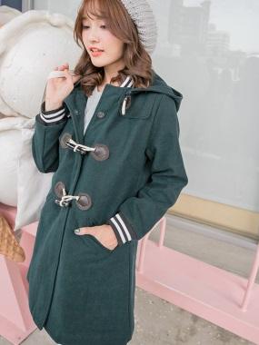 羅紋拼牛角釦連帽內鋪棉長版大衣外套.4色