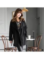 混羊毛開襟單釦設計長版大衣外套.2色