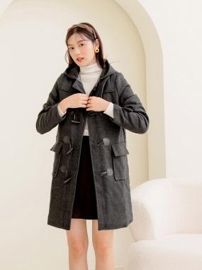 毛料質感牛角釦長版連帽大衣