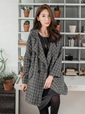 毛呢鋪棉格紋雙釦翻領大衣.2色