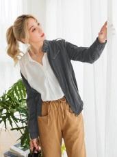 高含棉小立領軍裝風衣外套