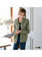 素色雙口袋造型剪裁微挺長袖外套.3色