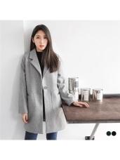 素色毛呢手感翻領單釦造型口袋大衣/外套.2色