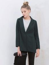 棉質翻領單釦薄西裝外套.2色