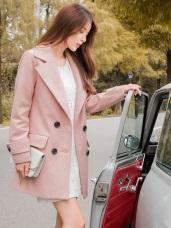 素色大翻領造型袖絆毛呢排釦西裝外套