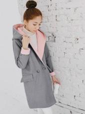 粉嫩內裡拼色翻領連帽雙釦毛呢外套.2色