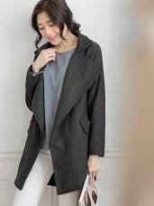大翻領落肩造型長版大衣外套