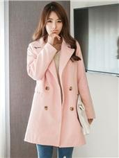 雙排釦大翻領粉嫩素色毛呢西裝外套.2色