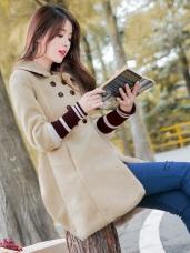 袖口拼接羅紋雙排釦高腰A字擺羊羔絨長版外套.3色
