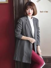 素色大翻領墊肩長版寬鬆西裝外套.2色