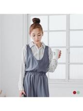 配色直條紋棉感長版襯衫/外套.2色