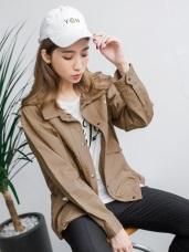 素色星星後開衩抽繩造型襯衫領寬鬆棉感外套.2色