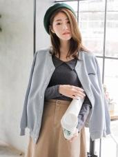素色針織質感英文刺繡造型開釦寬鬆棒球外套.2色