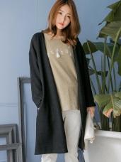 素色坑條造型長版開襟寬鬆外套.2色