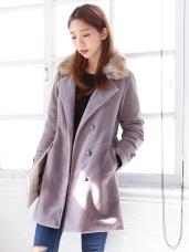可拆式毛領設計短毛絨翻領排釦長版大衣.2色