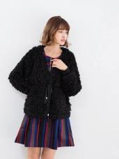奢華感刷毛V領單釦外套/大衣