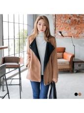 配色羊毛質感大翻領斜拉鍊造型外套.2色
