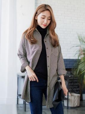 直條紋法蘭絨質感落肩長版襯衫/外套.2色