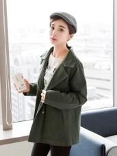 素面翻領雙排釦設計內鋪棉寬鬆風衣外套.2色