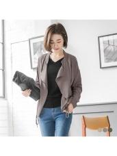 素色衣襬抽繩設計翻領拉鍊式厚雪紡外套.3色
