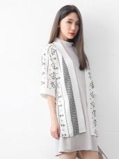 滿版幾何印花全開襟五分袖雪紡罩衫/外套.2色