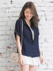 質感純色下襬前短後長反折袖寬鬆襯衫/外套