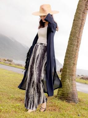 質感純色側開衩造型雪紡開襟長版罩衫/外套.2色