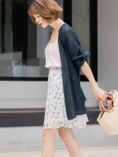 質感純色反褶袖造型細皺開襟罩衫/外套