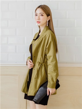 多色輕防潑水腰抽繩寬鬆風衣外套.6色
