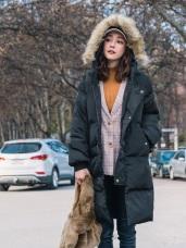 羽絨棉毛領連帽防風長版外套