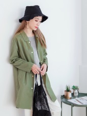 素色壓釦長版寬鬆襯衫外套.2色