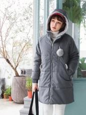 輕量鋪棉內裡連帽毛球造型長版外套